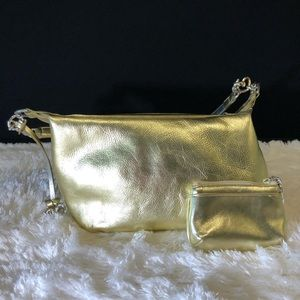 Brighton Gold Leather Pouchette With Coin Purse
